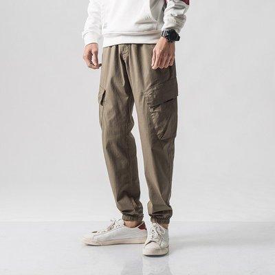 原創 素面純色基本百搭 大口袋 工裝工作褲 縮口褲 束口褲 休閒長褲 窄管褲 小腳褲 OVERHEAD