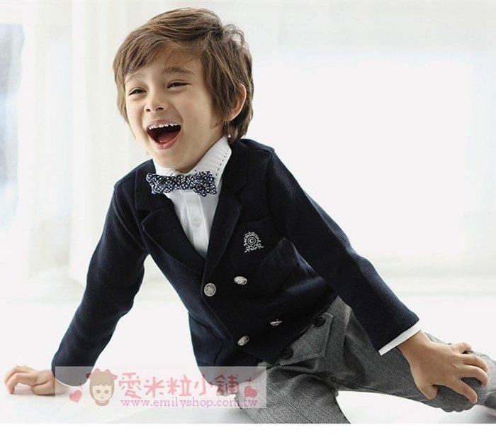 兒童西裝外套 韓版韓版英倫學院風外套 ☆愛米粒☆ 男童深藍色西裝外套