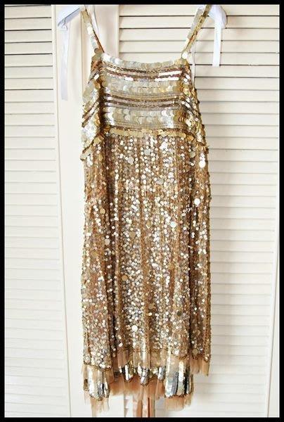 全新專櫃正品【blugirl】超奢華又夢幻的純蠶絲黃澄亮片公主宮廷風手工華麗洋裝38號