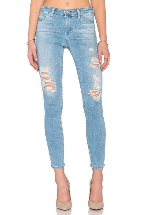 ◎美國代買◎AG the Middi Ankle 大腿刷破淺藍刷色復古頹廢風高腰刷破合身款牛仔褲~歐美街風