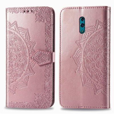 6.4吋 OPPO Reno曼陀羅浮雕皮革錢包手機套 內軟殼 可支架 保護殼 玫瑰金