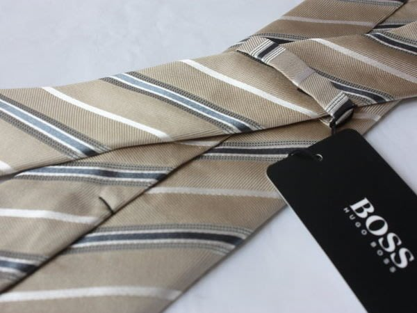 【HUGO BOSS】100%全新正品 斜紋領帶-卡其色系【寬窄版7.5cm】*領帶兩條95折三條9折*NEW HB03