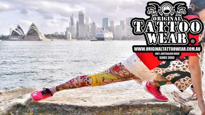 獨家~澳洲原創紋身衣著 擬真紋身壓力褲100%防曬 澳洲製造 運動長褲 瑜珈褲 內搭褲適合路跑各項運動 透氣 吸濕排汗