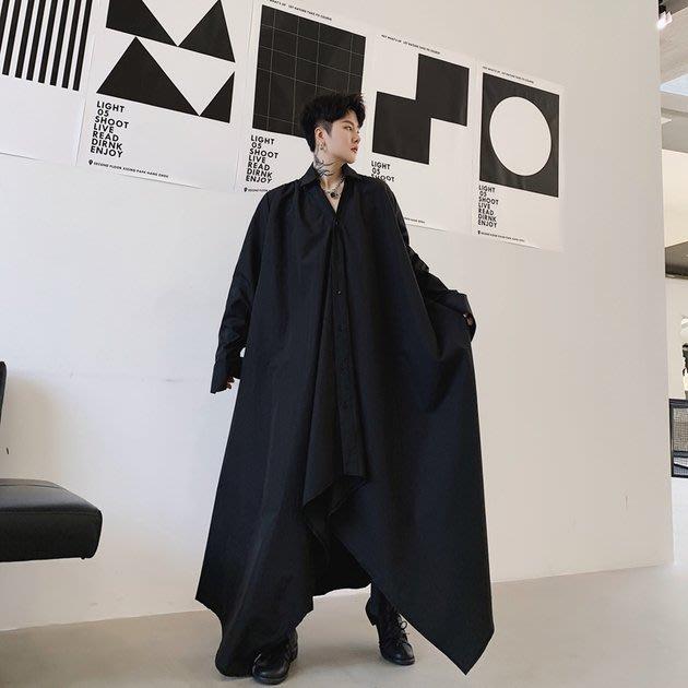 FINDSENSE 2019 秋季上新 G19 寬鬆日系暗黑長款下擺收腰長袖襯衫素面襯衫 男裝 上衣黑色白色
