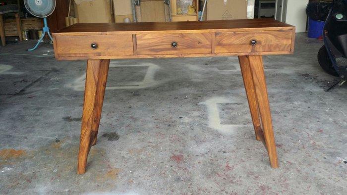 美生活館 全新印度進口 原木家具 可搭 鄉村風格家具 印度玫瑰木系列 三抽玄關桌 邊桌 工作桌 書桌 化妝桌