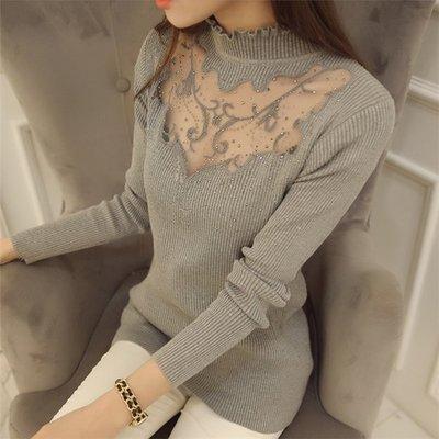~Linda~ 蕾絲針織衫 韓版冬裝新款修身打底衫 女士木耳邊半高領保暖毛衣