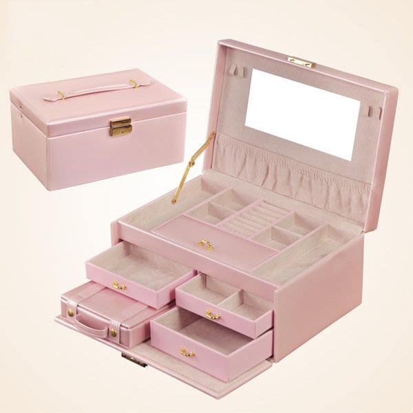5Cgo【鴿樓】會員有優惠  118596760131 歐式韓國公主首飾盒木質 帶鎖收納盒 高檔皮化妝盒大號儲物盒飾