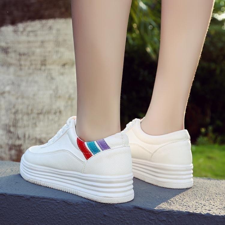 麥麥部落 小白鞋秋季女潮新款百搭正韓基礎板鞋春季厚底白鞋增高學生MB9D8