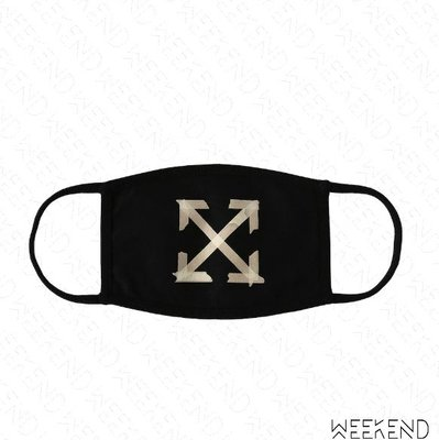 【WEEKEND】 OFF WHITE Tape Arrows 膠帶箭頭 印圖 口罩 黑色 20春夏