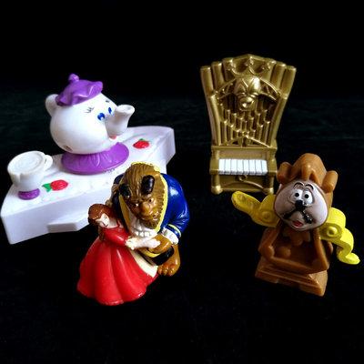【麥當勞玩具收藏】1998年已絕版 迪士尼Disney 美女與野獸系列 四款合拍 高約7公分 (183)