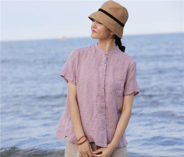 【子芸芳】原創文藝復古高端純亞麻撞色短袖麻質襯衫襯衣