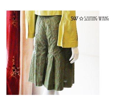 SW ✩ FASHION 民族風暗綠色壓摺五分褲裙