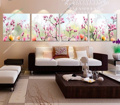 【30*30cm】【厚0.9cm】粉色桃花-無框畫裝飾畫版畫客廳簡約家居餐廳臥室牆壁【280101_026】(1套價格)