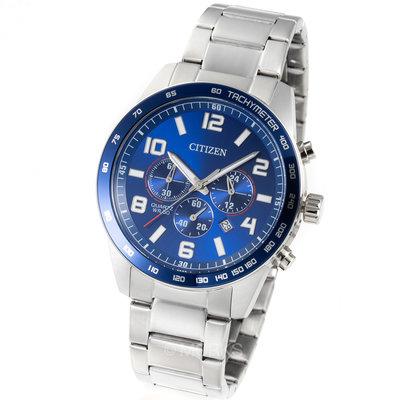 現貨 可自取 CITIZEN AN8161-50L 星辰錶 手錶 44mm 三眼計時 藍色面盤 鋼錶帶 男錶女錶