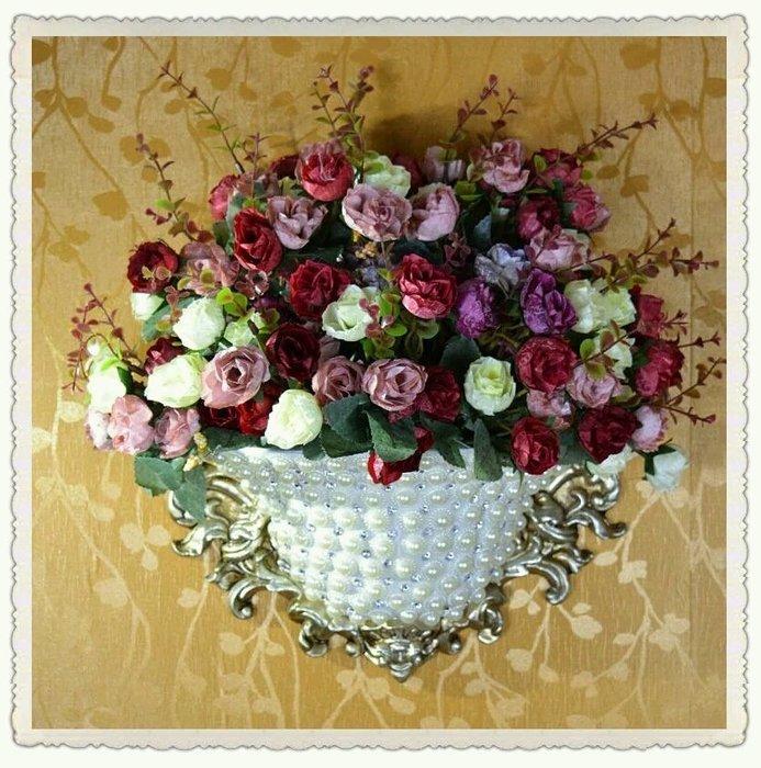 粉紅玫瑰精品屋~歐式高檔奢華壁掛 手工珍珠創意花瓶擺設~不含花