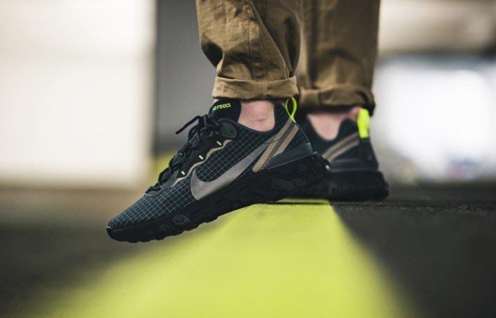 Nike React Element 55 綠色 灰色 黑色 CD1503-400 慢跑鞋 格紋 男鞋