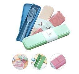 天然小麥桿 餐具組合 筷子 湯匙 叉子 附收納盒 健康做環保 安全無毒 耐高溫 告別免洗餐具 愛地球