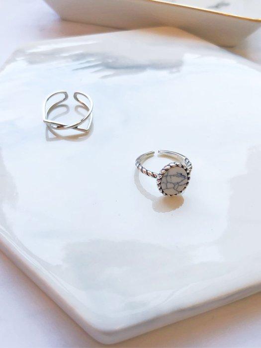CCPlus韓國代購~簡約幾何線條純銀戒指
