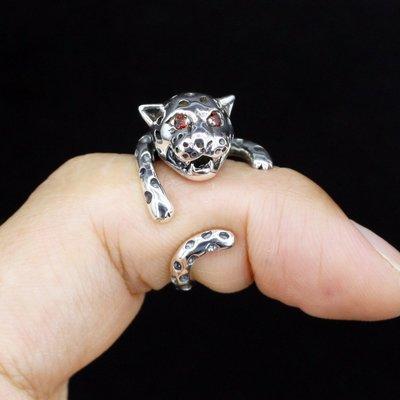 銀革手作 925 純銀 紅鋯石 立體 實心 獵豹 戒指