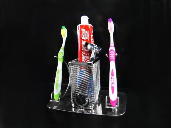 ☆成志金屬☆設計款*304不鏽鋼牙刷架雙支款,別緻質感設計,置於桌面使用。刮鬍刀架