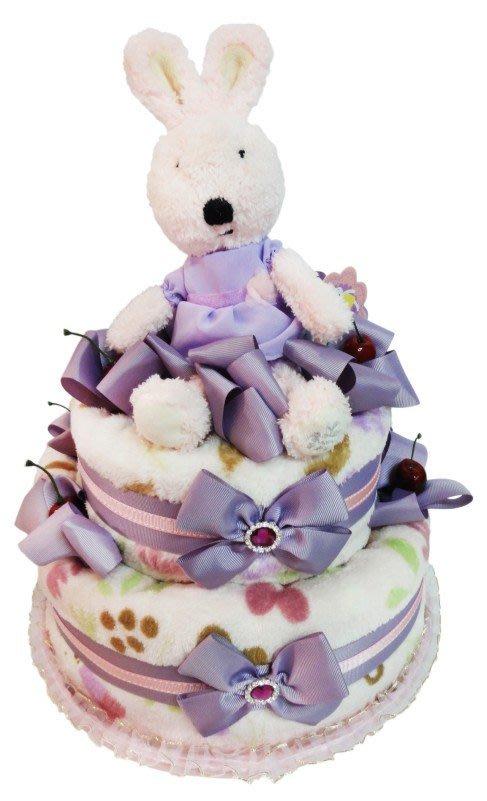 娃娃屋樂園~法國兔雙層毛毯尿布蛋糕-紫色 每組2299元/生日蛋糕/彌月禮滿月禮週歲禮