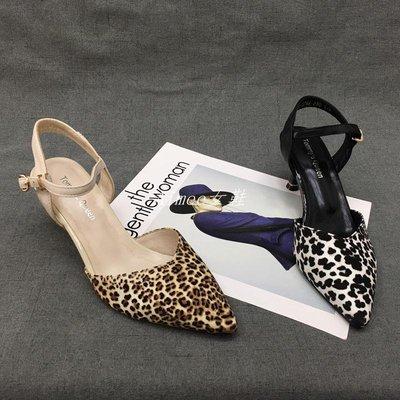 Empress丶春款真皮女鞋豹紋氣質搭扣洋氣個性優雅舒適中跟鞋牛皮女單鞋