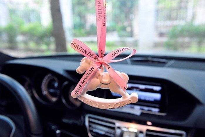 石膏旋轉木馬汽車挂件香水車內車飾後視鏡車載掛飾車用飾品掛飾女