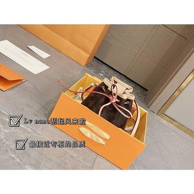 專柜折疊禮盒原單變色皮正品 nano抽繩小LV真皮水桶包包原單對花青銅五金經典NANO SEEDY尺寸相M62352