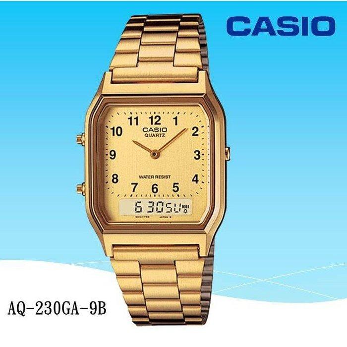 【CASIO】手錶專賣店 金色 復刻板 雙顯錶 台灣卡西歐公司代理貨【超低價950】AQ-230GA