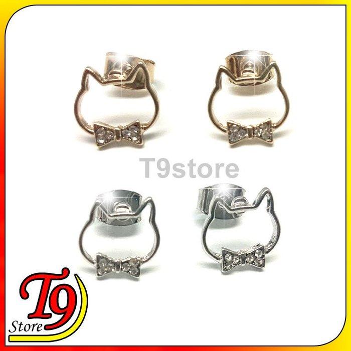 【T9store】韓國製 閃光絲帶貓框架貼耳耳環