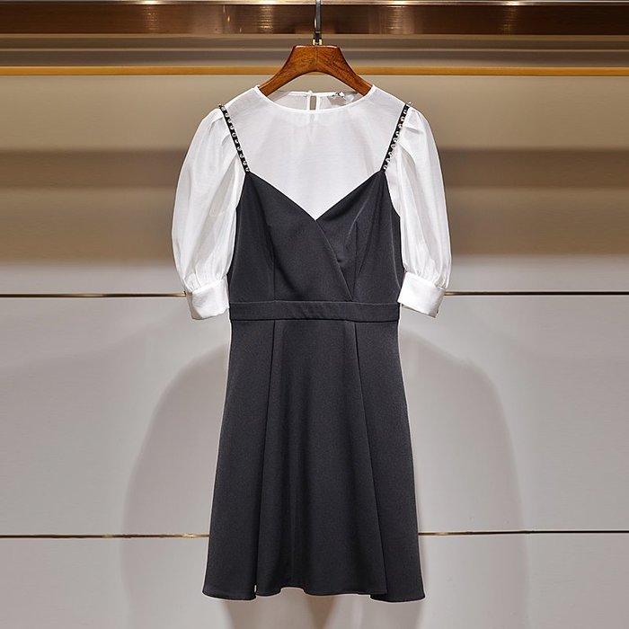 墨染女裝M娜微卓雅夏裝2020新款釘珠吊帶二件套連身裙女泡泡袖套裝0360001