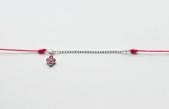 [Le Bonheur Line] 幸福線 手工/銀珠鏈線 925純銀 幸運草 紅寶 /手線 飾品 迷你 精緻 設計款