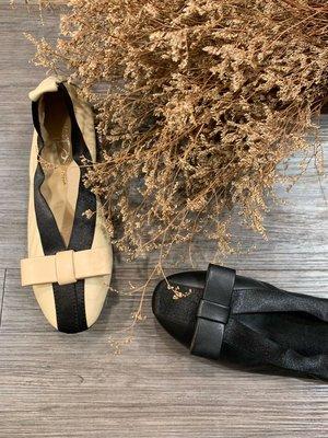 超柔軟法式蝴蝶結娃娃鞋黑36杏35