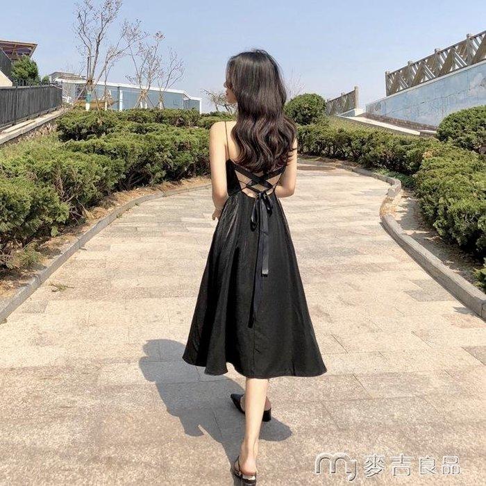 港味復古chic夏季中長款禮服裙小黑裙V領高腰綁帶露背吊帶連身裙