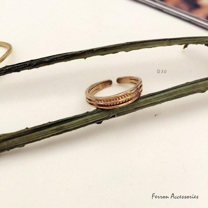 Ferron Accessories 琺隆  R30  典雅葉紋戒指  訂製  復古  黃銅 VINTAGE