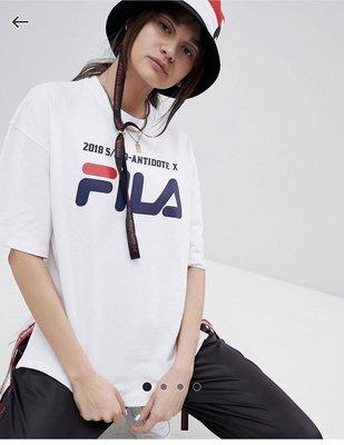 春夏 D-Antidote x Fila boyfriend 聯名款 織帶 T恤 上衣 白T T-Shirt With Taping