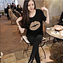 =EF依芙=早班車13016 韓國 首爾時尚精品 東大門同步上新 韓版大嘴唇 纯棉T恤圓領寬鬆 女式短袖t恤