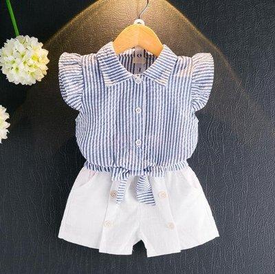 套裝 夏款女童短袖襯衫T恤+白色短褲套裝 韓版休閑兩件套—莎芭