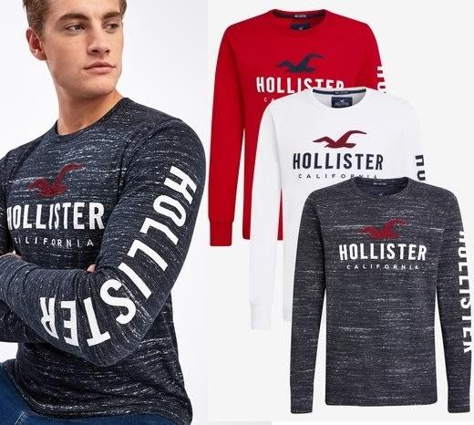 Hollister HCO 海鷗 長袖T恤 車繡貼布logo 現貨 3件 套裝組 白/紅/黑
