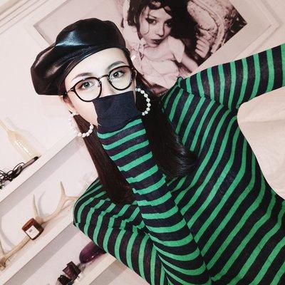 洋氣祖母綠薄透黑綠條紋拼色針織衫長袖修身打底毛衣