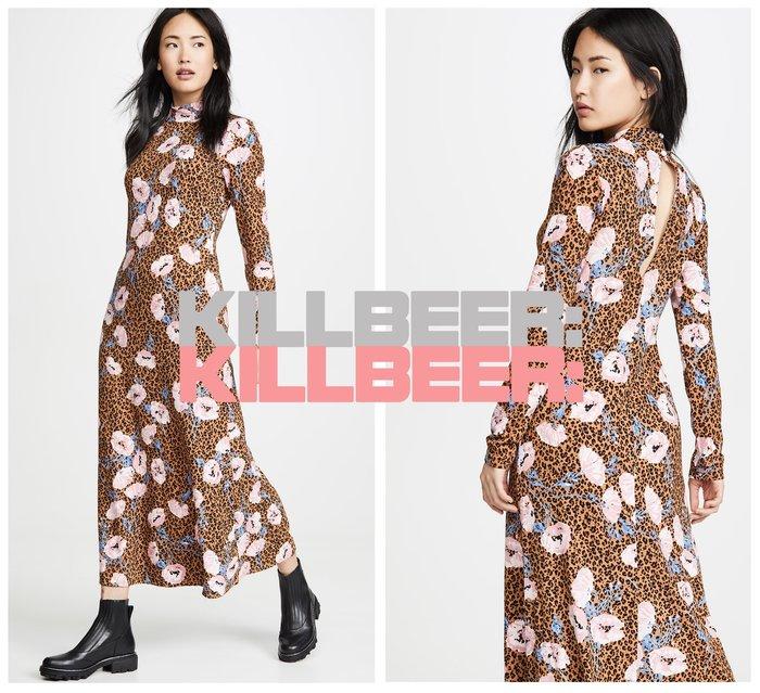 KillBeer:波希米亞嬉皮風之 歐美復古Free People同款搖滾動物紋豹紋花朵撞色印花垂墜連身裙010705