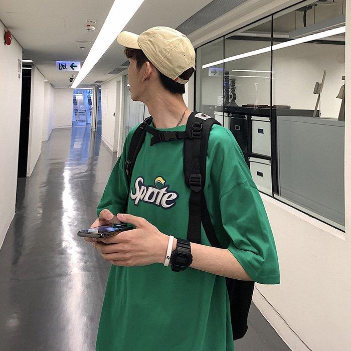 短袖男夏季寬松t恤男短袖韓版潮流學生半袖上衣服ins個性印花五分袖體恤