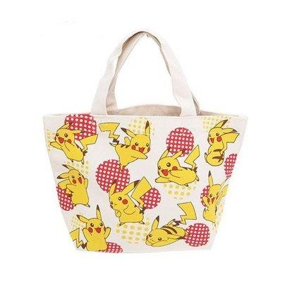日本 Pokemon 神奇寶貝皮卡丘  帆布手提袋 午餐手提包