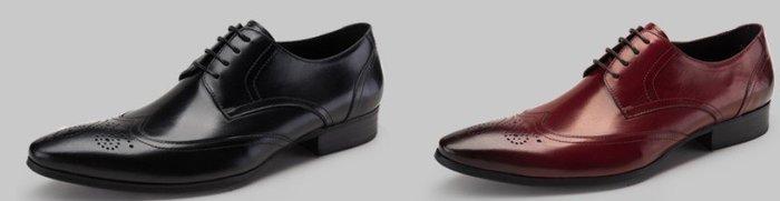 新款 牛皮正裝商務皮鞋 英倫系帶尖頭皮鞋真皮雕花布洛克鞋男鞋OM