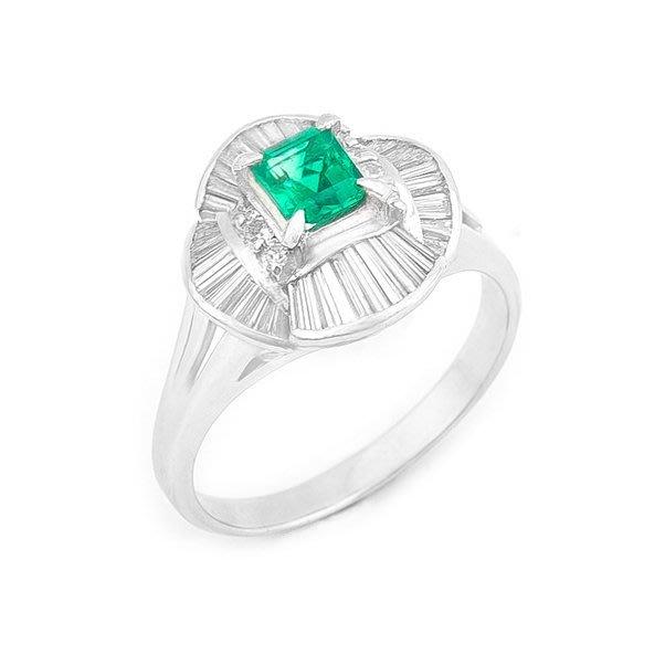 【JHT 金宏總珠寶/GIA鑽石專賣】0.46ct天然祖母綠鑽戒/材質:PT900(E00011)