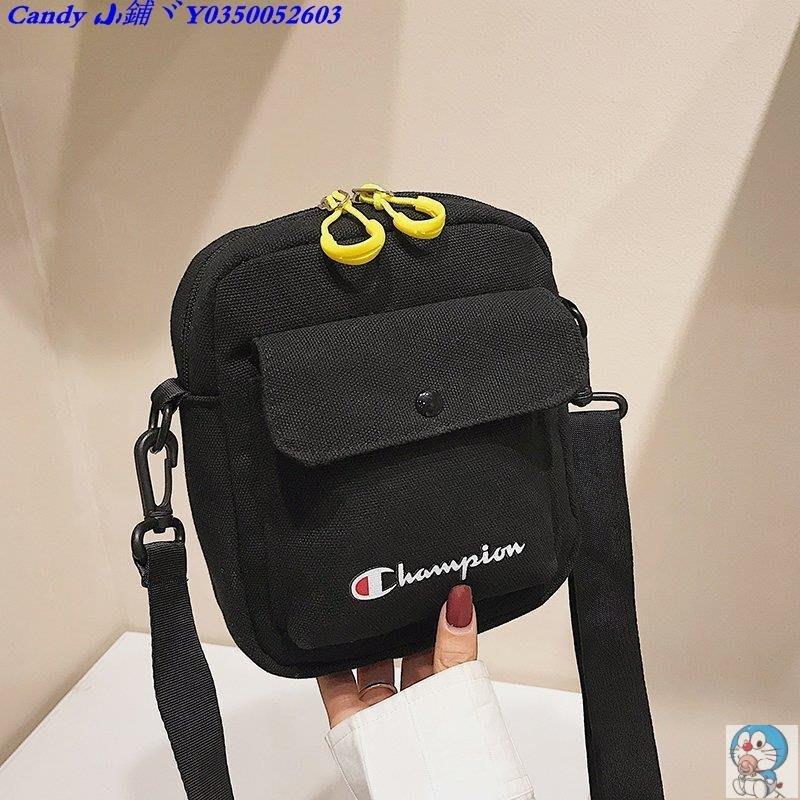 Candy 小鋪ヾchampion冠軍斜挎包 肩背斜背側背包零錢手機包 帆布包 戶外小包
