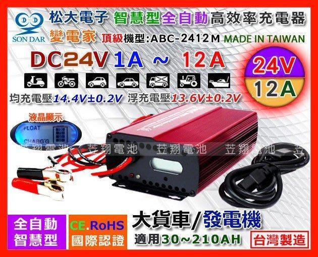【鋐瑞電池】變電家 24V12A 電池 充電機 電瓶 充電器 發電機 太陽能 挖土機 遊覽車 漁船 ABC-2412M