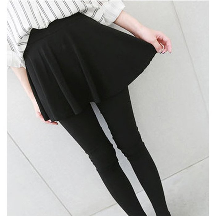 【Hao Da】全館399免運↘「M~XL。現貨」甜美 彈力棉假兩件大圓裙內搭褲 (P1107)