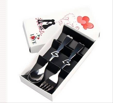 ☆命中注定☆.白色戀人餐具禮盒,婚禮小物,歐美禮品,(2入)