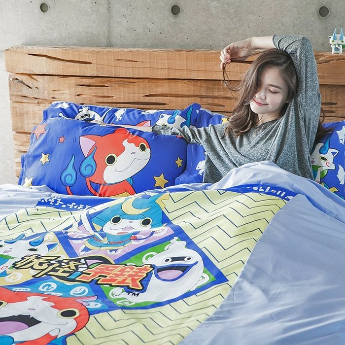 床包 / 雙人加大【妖怪手錶-武士慶典】含二件枕套,混紡精梳棉可愛卡通,戀家小舖台灣製